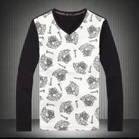 2014 men's clothing print pattern long-sleeve male autumn 100% cotton slim cotton t-shirt tshirt free shipping