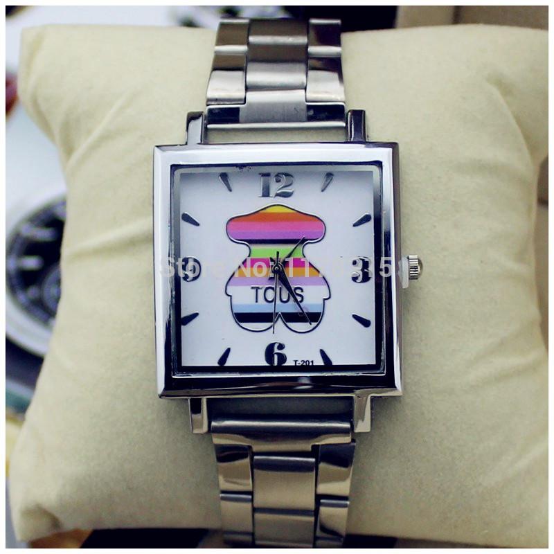 Relojes dress Brand Fashion Steel Metal band & Bear Wrist Bracelet watch for kids and Women Reinstone Crystal Gift Dress Watches(China (Mainland))