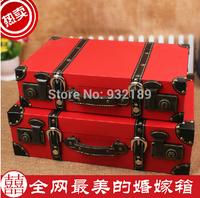 China Minhou Factory 2 set red wooden  storage box wooden chest  treasure chest