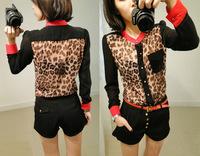 blusas femininas 2014 long sleeve chiffon Leopard-print shirt for women NY026