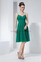 Dark Green Spaghetti Strap Knee Length Open Back Zipper Ruffle Chiffon Party Dresses