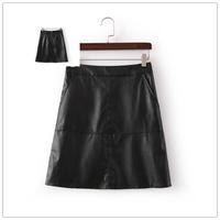 Free shipping 2014 Winter women high waist solid color zipper slimmer PU leather skirt