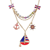 Enamel Body Chain Jewelry Link Chains Alloy Collar Sailboat Pendant Necklace 2014 Latest  Fashion Style