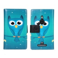 2014 New Wallet Leather Stand Cover For Nokia Lumia 915 Phone Cases Animal Owl Cartoon Wallet Case With Card Slots