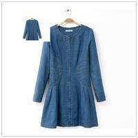 Free shipping 2014 Winter women new O neck long sleeve waist slimmer front zipper denim dress