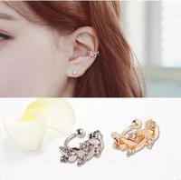 New Arrival Fashion Cuff Earrings Gold Plated Crystal Leaf Ear Clip Cuff earrings Women AE630-1