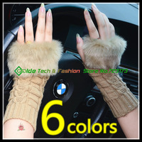 2014 Womens Girls Winter Rabbit Fur Knitted Gloves Half-Finger  Arm Long Style Gloves Mittens