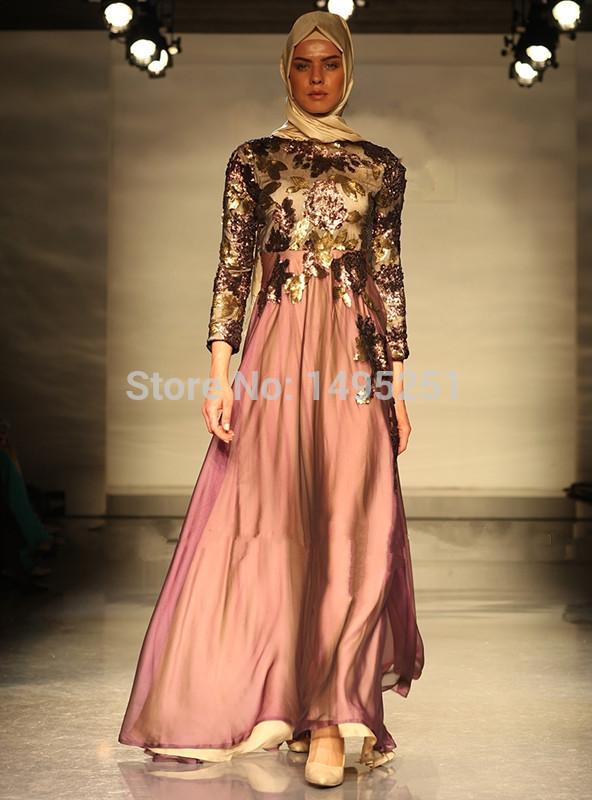 wholesale market clothing 2014 fashion long sleeve lilic hijab evening dress import dubai abaya kaftan(China (Mainland))