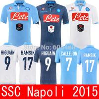 Thailand quality Napoli 2015 home blue away white 3rd Denim soccer jersey HIGUAIN CALLEJON HAMSIK INSIGNE Naples soccer jerseys