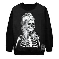 Women Hoody Flowers Skull Personalized Tie-gothic Rock Style Womens Tops Sweatershirt Pullover Hedging Sweater Saia Feminina