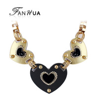 Gold color Alloy Heart Choker Statement Big Necklaces Female Fashion Jewlery 2014