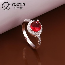 2014 NEW 925 Silver ruby stone zircon crystal women new design finger ring Simulated Diamonds Jewelry