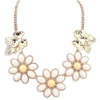 White Resin Gem Flower Gold Drop Collar Choker Bib Statement Necklaces & Pendants New 2014 Fashion Jewelry Women Wholesale N184