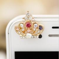 2014 Hot wholesale Bling Crystal Imperial Crown Anti Dust Plug for Iphone 5 5g (Front) Earphone Jack Anti Dust Plug Ear Jack Cap