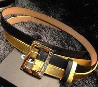 new arrival women wide elastic genuine leather  double belt women wide metal plate cummerbunds women waistband