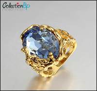 Brand Product Hot Selling Unisex Ring Sea Blue Zircon 18K Gold Plated The Mysterious Magic Ring Symbol of Pharaoh CollectionBP