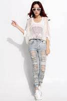 European Grand Prix 2014 spring new female hole jeans Slim thin feet pencil pants Vintage jeans women 13387.E
