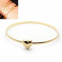 Brand New Love Angel Iris Wish Bangle Gold Heart Bracelets Charm Cuff Pulseiras Feminina for Women Jewelry Bijoux 2014