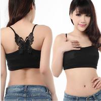 High quality Fashion Women Ladies Bandeau Boob Tube Top Butterfly Black Strap New V3NF