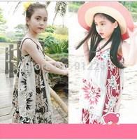 2015 new summer girl dress baby girls clothes flower fashion children Bohemia dress,14NOV31