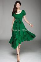 2014 new Korean version was thin Slim lady long chiffon dress big swing dress irregular