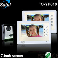 """Handsfree 7""""TFT-LCD wired colour video intercom system 1 outdoor ir camera with 2 indoor monitors"""
