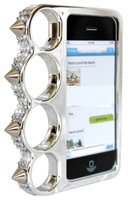 Silver Chrome Color Spike Knuckle Rhinestone Jewel Bling Bumper Case Cover for Iphone 5 5G 5S