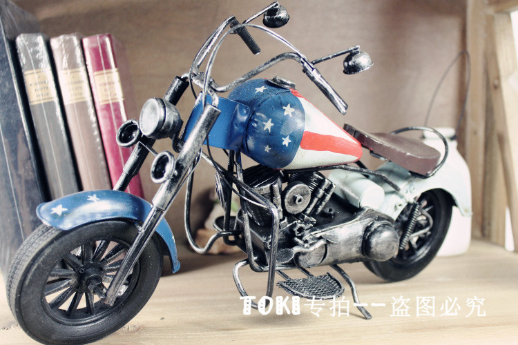 Europe and America Home Furnishing jewelry retro heavy motorcycle model decoration gift shop decoration props(China (Mainland))