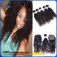 Malaysian Virgin Hair 5pcs Lot Free Part Lace Closure With Hair bundles Unprocess Human Hair weave Deep curly Rosa hair Product