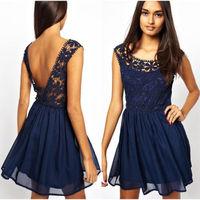 2014 Hot Selling Lace Flower Sleeveless Elegant Slim Mini Dress Women