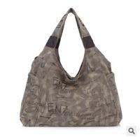 Retail 2014 bag for woman fashion big canvas shoulder bags lady letter handbag free shipping
