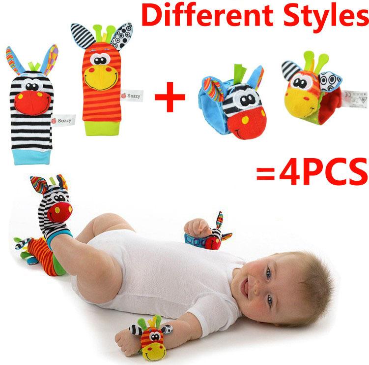 Novo estilo brinquedo do bebê 4 pcs = 2 pcs de cintura 2 pcs meias baby chocalhos brinquedos Garden Bug Wrist Rattle e meias pé grátis frete(China (Mainland))
