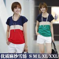 New European style big yards short sleeve chiffon shirt short-sleeved chiffon fresh linen stitching T shirt Code Division