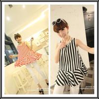 Vertical stripes super beautiful side of good quality large petal chiffon dress