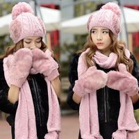 Birthday christmas gift knitted hat scarf gloves three pieces set female fashion winter thermal Outdoor supplies warm fashion