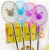 Creative stationery wholesale 36pcs blue ink funny tennis racket bear ballpoint ball pen school children kids prize gift toy