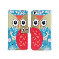 2014 New Cute Animal Owl Wallet Leather Stand Case Cover For iPhone 5 5G 5S Phone Caes with Card holder