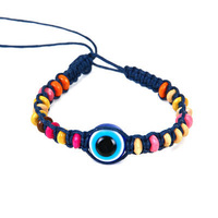 Turkish evil eye jewelry bracelet wood beads 5 colors available black blue cheap jewelry free shipping
