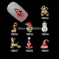 280 Pcs/Lot 3D Nail Art Alloy Christmas Gliter Nail Designs Brand Stickers Nail Art DIY Rhinestone Decoration TN833-TN839-280PCS