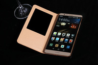 6Color,Retro Luxury Genuine Leather Flip Cover case for Huawei Ascend Mate 7,View window and Stand Card Holder Phone Bag Case