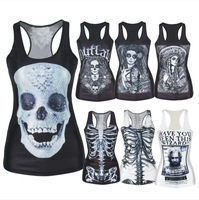 The Frighteners Skull Bone Costa Corpse Bride fashion tops women summer sleeveless camisole summer Sexy Girl Tank top