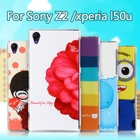 New Fashion Cute Printed Colored Drawing Plastic Back Case For Sony Xperia Z2 D6502 L50W L50 Cover Free shipping