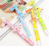Creative stationery wholesale 36pcs blue ink cartoon lovely giraffe ballpoint ball pen school children kids prize gift toy