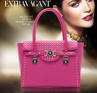 2014 Winter New Arrival Women Rivets Bat Handbags European Fashion Tote Quality Vintage Office Bags Shoulder Bag Bolsas Purses