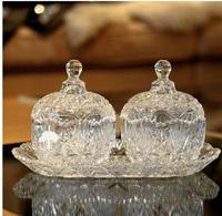 Creative gifts diamond hand-cut crystal household three-piece suit European candy jar