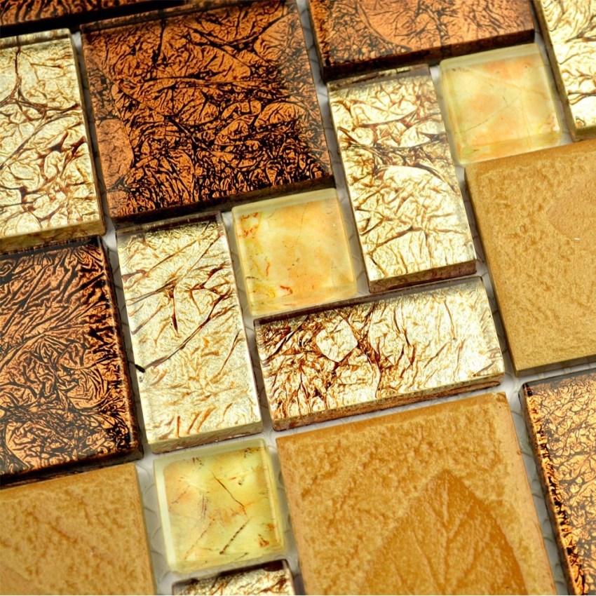 Brown color electroplating glass with leaf drawing square mosaic for kitchen backsplash tile