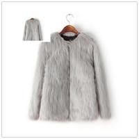 Free shipping autumn winter 2014 new women's o neck long sleeves faux fur furry warm coat quality outwear