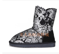 2014 real cowhide genuine leather  Leopard  waterproof snow boots women's  plus size buttom winter shoes