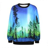Women Hoody Blue Aurora Printing Loose Hoodie Sweatershirt Tracksuits Brand Pullover Casual Hedging Sweater Saia Feminina