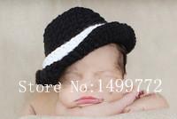Free shipping new coming black gentleman style baby hat handmade crochet photography props newborn baby cap(China (Mainland))